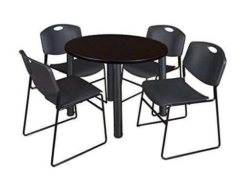 "Kee 42"" Round Breakroom Table- Mocha Walnut/ Black & 4 Zeng Stack Chairs- Black"