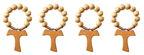 Olive Wood Prayer Bead Finger Rosary Ring with Tau Cross, 2 1/4 Inch, Pack of 4