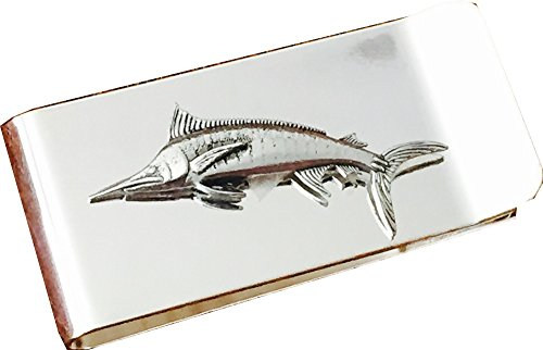 Chrome Polished Money Clip with Pewter Marlin Fish Fishing Fisherman ()