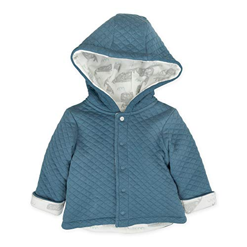 06a6f917f Mac & Moon Baby Boy Outwear, Blue Quilted Kimono Jacket with Hood & Whale  Print