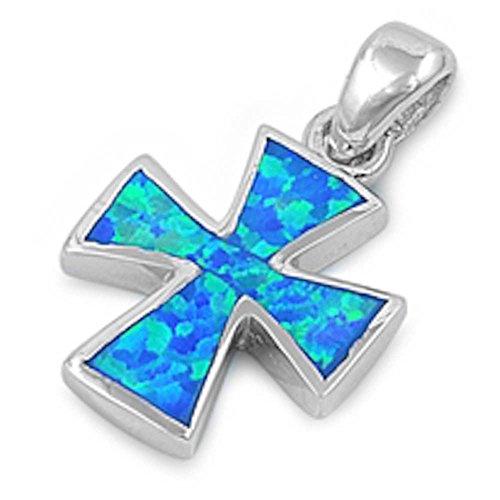 Iron Cross Charm - Lab Created Blue Australian Fire Opal Cross .925 Sterling Silver Pendant