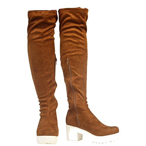 Tan ZIP CHUNKY BLOCK SHOES OVER LADIES STRETCH THE KNEE HEEL PLATFORM Suede BOOTS WOMENS 7q54xtyZwZ