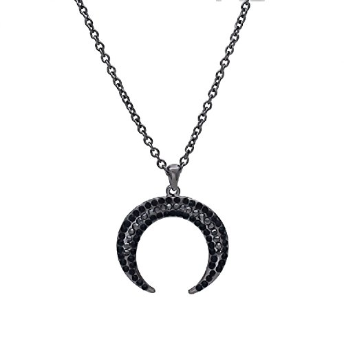 Black and Gray Crystal Double Horn Pendant Necklace
