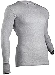 Indera Men's Dual Face Raschel Knit Performance Thermal Underwear Top with Silv