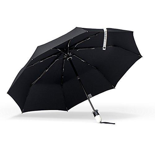 (ShedRain Stratus Collection Dualmatic Auto Open/Auto Close Compact Umbrella - Glossy Piano Black and White Grip)