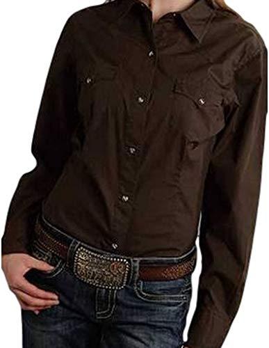 Ranch Wear Western - Roper Women's Amarillo Solid Pearl Snap Western Shirt Plus Chocolate 3X