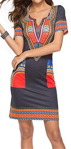 Corta Manica Sottile Womens Abiti Dashiki Cruiize Metà Stampati Etnici Black1 XXYx4w