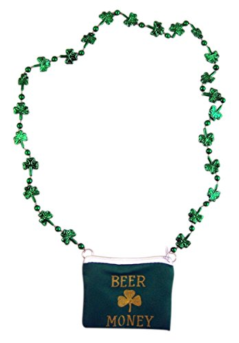 Forum Novelties ST. Patricks Day Beer Money Pouch Shamrock Necklace Party Accessory, Pack Of - Glass Costume Beer