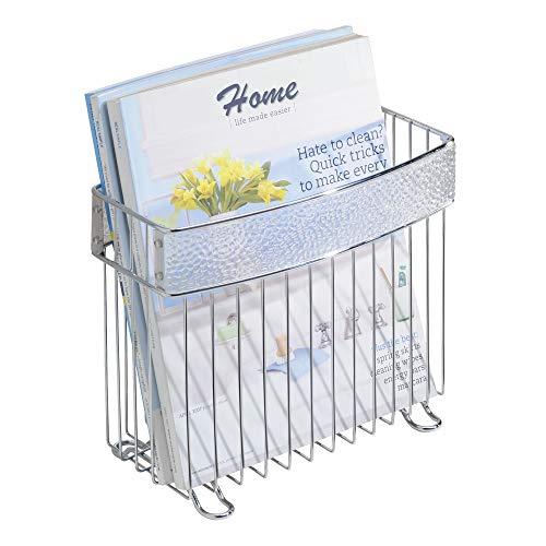 - InterDesign Rain Metal Free-Standing Magazine Holder, Newspaper and Book Storage for Bathroom, Office, Bedroom, Den, 5