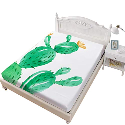 Oliven Fitted Sheet Queen Size Plant Cactus Green Bed Sheet Only 1 Piece Bed Set White Home Decor