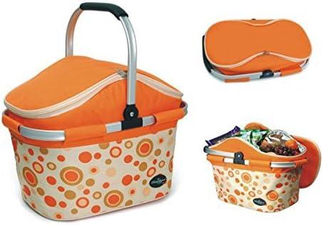 Aluminum-Framed Picnic Cooler Basket in Orange