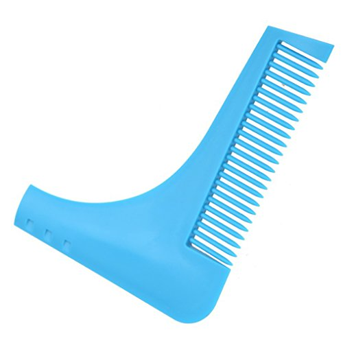 Beard and Facial Hairs Trimmer Shaping Comb Shaving Template Tool for Men, Styling and Edging Tool with Built-in Comb for Perfect Lines and Symmetry (Blue)