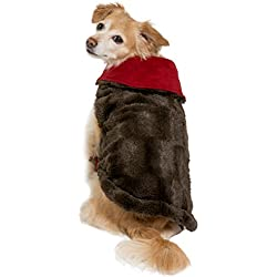 Friends Forever Furry Brown Dog Jacket Coat Vest Cozy Winter Sweater Pet Cat Puppy Holiday Outwear Coat Apparel Large