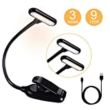 #10: Book Reading Light for Bed Warm 9 LEDs Rechargeable 4000-6000K Stepless Dimming Light Easy Clip 3 Mode Adjustable Brightness Eye-Care,Lightweight Perfect for Bookworms,Kids