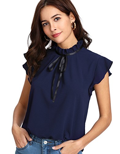 Romwe Women's Casual Cap Sleeve Bow Tie Blouse Top Shirts Navy XS