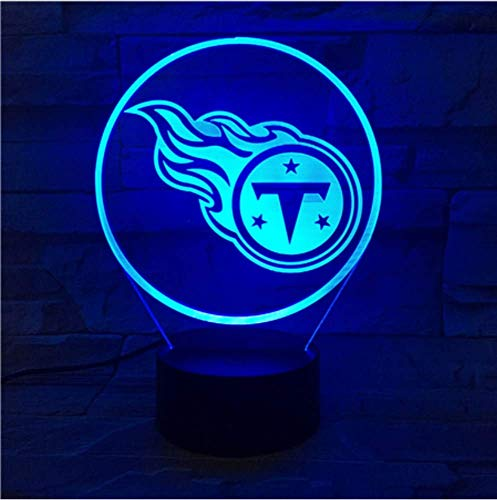 KUKULE Tennessee Titans Night Lamp Bedroom USB Touch Children Kids Gift Team Logo Led Night Light American ()