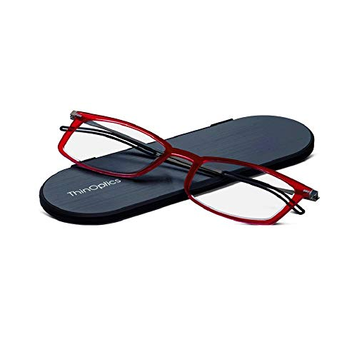 ThinOptics Reading Glasses + Milano Aluminum, Magnetic Case | Frontpage Brooklyn Collection, Red Frame 2.00 Strength Readers
