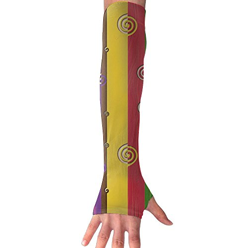 HBSUN FL Unisex Abstract Colourful Texture Swirl Anti-UV Cuff Sunscreen Glove Outdoor Sport Riding Bicycles Half Refers Arm Sleeves by HBSUN FL
