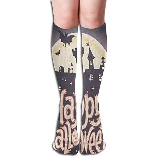 Custom Women's Knee Socks Happy Halloween Castle Bat Pumpkin Girls Long High Knee Stocking One Size Hand -