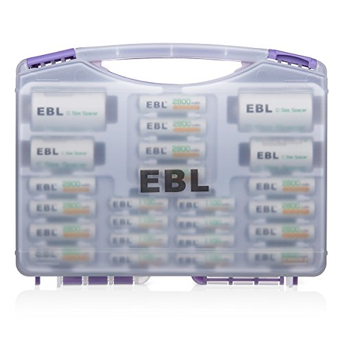 - EBL Purple Battery Box Include : Rechargeable 12 AA Batteries + 8AAA Batteries +2Pcs C/D Converters with Battery Storage Organizer