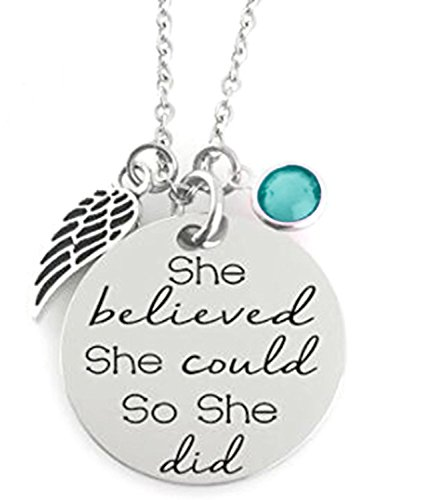 GLAM - 'SHE BELIEVED SHE COULD SO SHE DID' Inspirational Positive Message Mantra Pendant Angel Bird Wing Charm Necklace (Aqua Blue) (She Believed She Could So She Did Meaning)