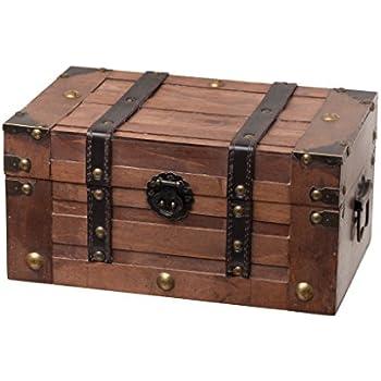 Bon SLPR Alexander Wooden Trunk Chest With Straps | Decorative Treasure Stash  Box Old Fashioned Antique