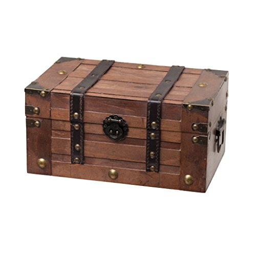 SLPR Wooden Trunk Chest with Straps | Decorative Treasure Box Old-Fashioned Antique Vintage Style for Birthday Parties Wedding Decoration (Wooden Trunk)