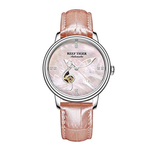 Reef Tiger Luxury Steel Watches for Women Diamond Shell Dial Automatic Watches Leather Strap RGA1582