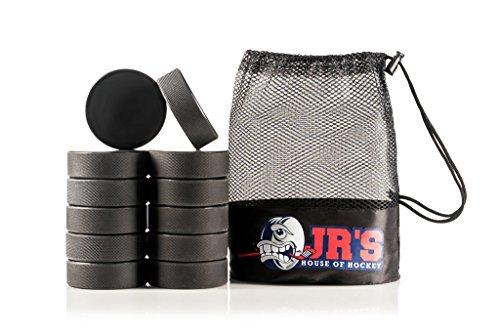 Ice Hockey Pucks 12 Pack: Regulation NHL Gear Size Sports Equipment Black Rubber Puck Set & Mesh Bag