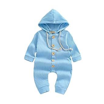 Weixinbuy Baby Boys Girls Sleepwear Pyjama Solid Color Long Sleeve Hooded Romper Bodysuits Clothes for Toddler Newborn Baby Blue