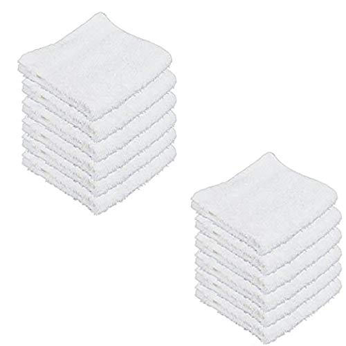 "IZO.Bath - 12 Pack 12""x12"" Cotton Fingertip-Hand-Face Towels- 100% Extra Soft Ring Spun Washcloths, Highly Absorbent Cleaning Cloth, Brilliant White"