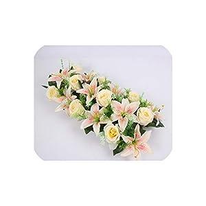 Silk Artificial Flower Row Arch Flower Wall Lily Arch high Imitation Rose DIY Wedding Road Lead Party Christmas Decor,01 6