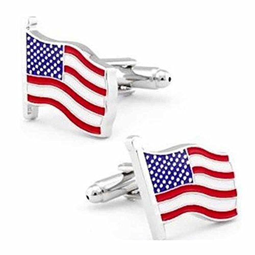 KORPIKUS ' USA Flag ' Stars & Stripes Theme Stainless Steel Cufflinks In Free Designer Gift Bag