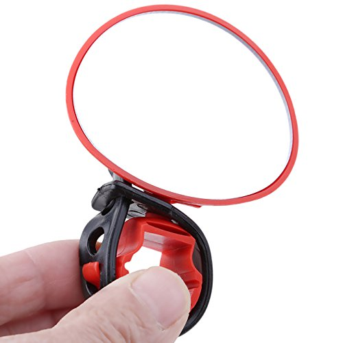 Rurah Universal Cycling Bike Bicycle MTB Handlebar Rearview Mirror 360 Degree Rotate Bicycle Accessories,red