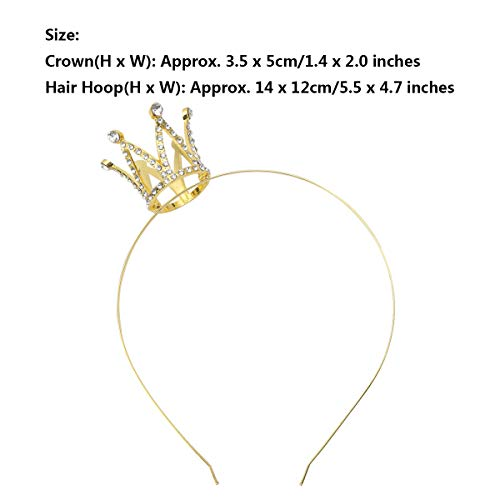 MSemis Baby Girls Princess Crown Sequins Tiara Hairband 1st Birthday Wedding Party Headpiece for Photo Shoot Rhinestones Gold One Size