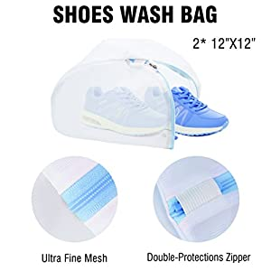 PlusMart Shoe Bag 2 Pack Shoe Washing Bag 4 Pack Shoe Storage Bag Waterproof Shoe Organizer Bag Zipper Travel Bag for Men Woman with Transparent Window