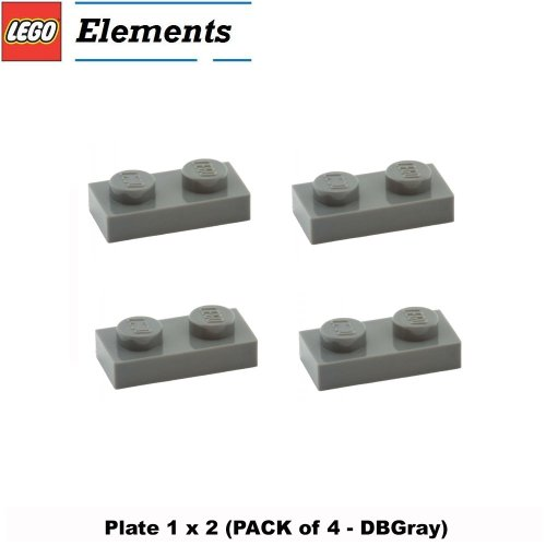 Lego Parts: Plate 1 x 2 (PACK of 4 - DBGray) (Lego Jedi Starfighter And Vulture Droid)