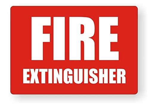 """1 PC Likely Unique Fire Extinguisher Window Sticker Sign Luggage Hoverboard Laptop Graphics Security Industrial Emblem Wall Vinyl Art Stickers Decal Size 3 1/2""""x5"""" Color White Red"""