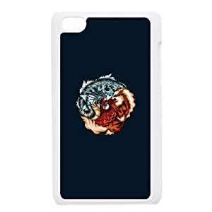 iPod Touch 4 Case White The Tiger and the Dragon PPG Protective Plastic Cell Phone Case