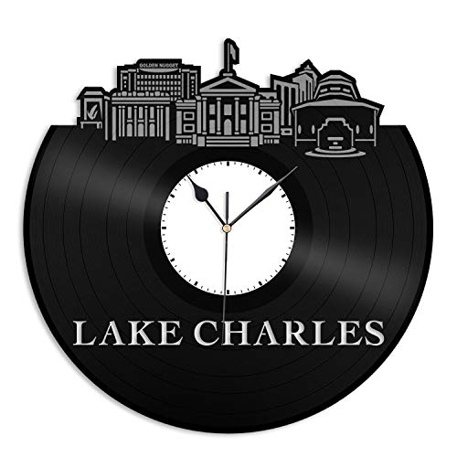 VinylShopUS - Lake Charles LA Vinyl Wall Clock City Skyline Cityscape Record Souvenir Unique Gift for Friends Men Women Office | Anniversary Home Room Decoration]()