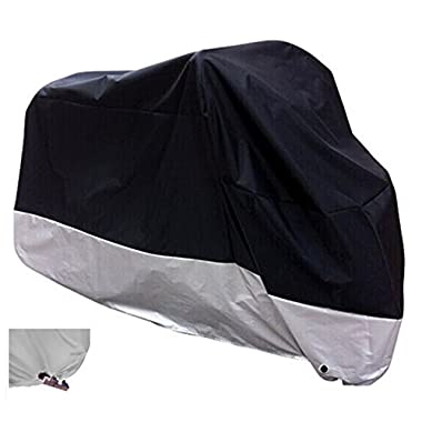 XYZCTEM All Season Black Waterproof Sun Motorcycle Cover,Fits up to 108  Motors (XX Large & Lockholes)