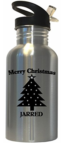 Merry Christmas Jarred Stainless Steel Water Bottle Straw Top (Christmas Gifts Jarred)