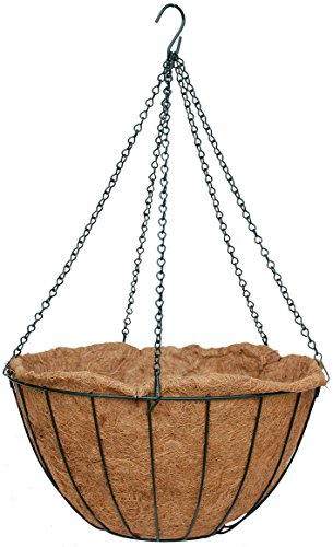 20'' Classic Master Gardner Planter Green with Coco Moss Liner and Chain Hanger (Set of 15) by Topiary Art Works
