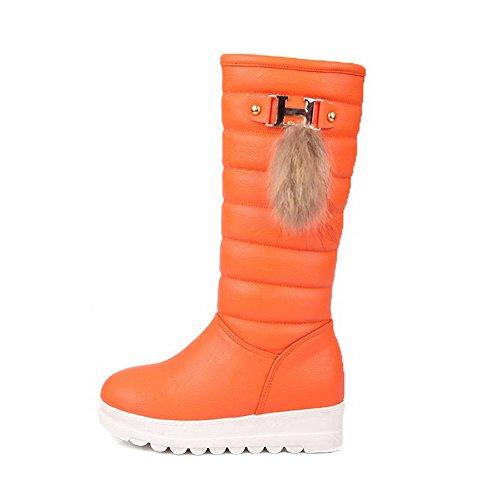 AllhqFashion Damen Rund Zehe Rein Hoch Spitze Niedriger Absatz Stiefel mit Metallisch, Orange, 39