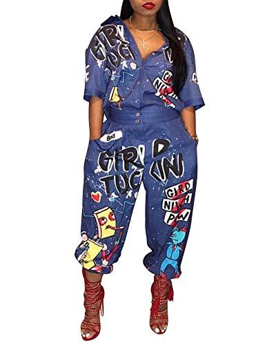 - Salimdy Womens One Piece Jumpsuit - Letter Print Half Sleeve Shirt Collar Loose Romper Playsuit Blue M