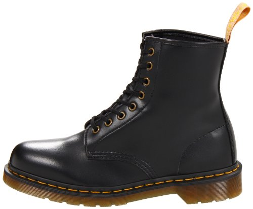 Dr. Martens Vegan 1460 Smooth Black Combat Boot,  Fleix Rub, 7 UK/US Men's 8 Women's 9 D US