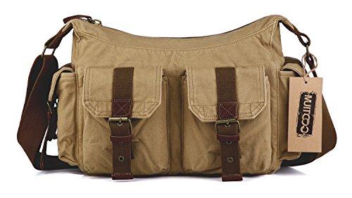 Messenger sac Gootium bandoulière vintage 32 homme Kaki Kaki à Canvas pour nbsp;cm EqEwaHnp