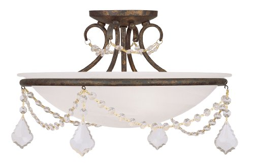 Livex Lighting 6524-71 Chesterfield/Pennington 3 Light Ceiling Mount, Hand Applied Venetian Golden Bronze