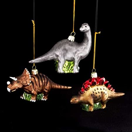 dinosaurs prehistoric animals set of 3 glass ornaments christmas decorations new