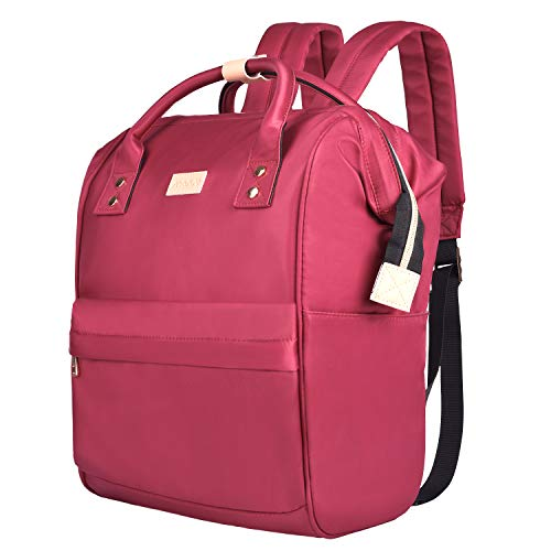 MOSISO Laptop Backpack, Business Travel School College Diaper Bag Water Repellent Polyester Briefcase Tote Handbag Organizer for Women & Men, Compatible up to 15.6 inch MacBook & Notebook, Wine Red by MOSISO